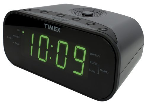 Timex T231GY2 AM/FM Dual Alarm Clock Radio with 1.2-Inch Green Display and Line-In Jack (Gunmetal)