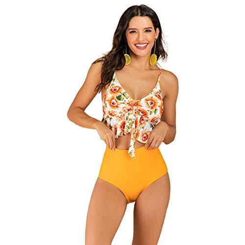 K SS Damen Zweiteiliger Bikini mit hoher Taille, Volant, V-Ausschnitt, bedruckt - Gold - Small