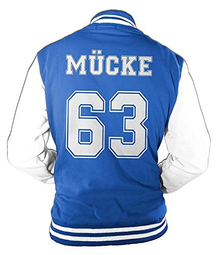 Uomo Giacca College Mücke Buddy Movie Star Film, 63 Giubbotto da Baseball - Blu, S