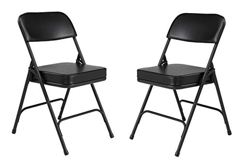 "National Public Seating (2 Pack) NPS 3200 Series Premium 2"" Vinyl Upholstered Double Hinge Folding Chair, Black, 3210"