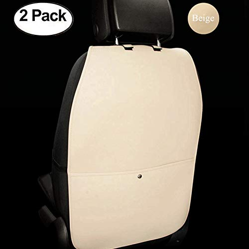HCMAX 2 Pack Premium Kick Mat Car Seat Back Protector Waterproof Easy to Clean Multifunctional Organizer Storage Bag Travel Accessory PU Leather Beige