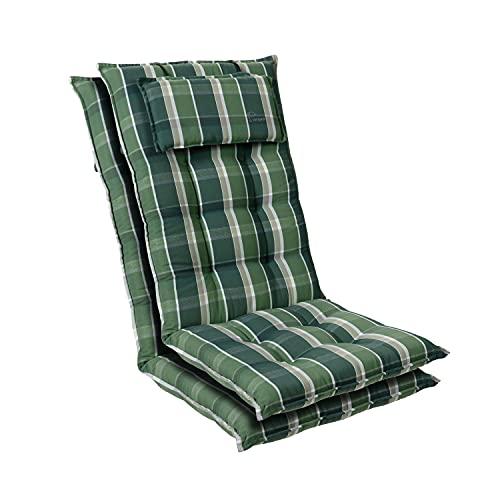 Homeoutfit24 Sylt - Cojín Acolchado para sillas de jardín, Hecho en Europa, Respaldo Alto con cojín de Cabeza extraíble, Resistente Rayos UV, Poliéster, 120 x 50 x 9 cm, 2 Unidades, Verde/Gris