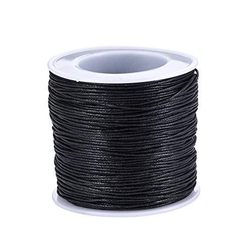 Housweety - 1rollo (80m) cordón de cera negro para pulsera/collar 0,5mm