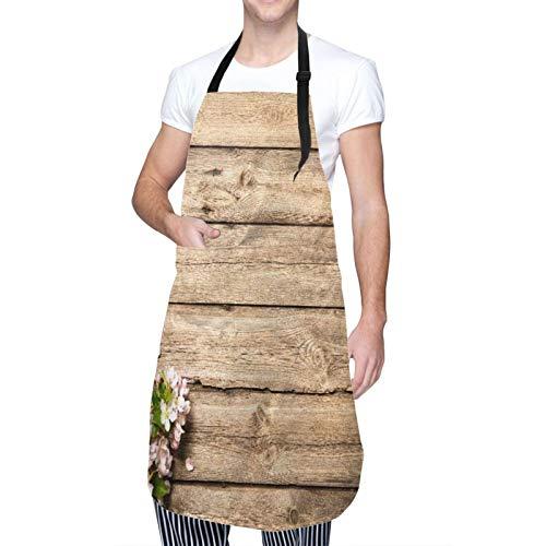 DAHALLAR Ajustable Personalizado Delantal Impermeable,Rama de árbol con flores de primavera dulce en la imagen de huerto floreciente de madera desgastada,Babero de Cocina Vestido con 2 Bolsillos