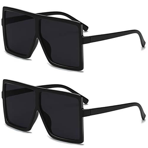 GRFISIA Square Oversized Sunglasses for Women Men Flat Top Fashion Shades (2pcs - black, 2.56)