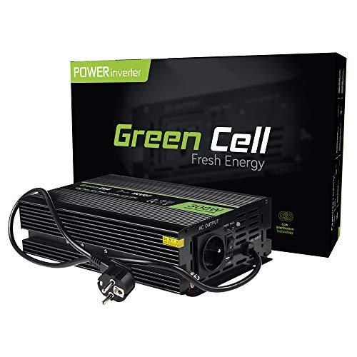 Green Cell® 300W/600W Onda sinusoidal Pura Inversor de Corriente UPS Power Inverter DC 12V AC 220V, Transformador de Voltaje para Coche con Puerto USB y Pinzas de conexión a batería