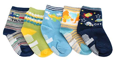 Colourful Baby World Lot de 5 paires de chaussettes antidérapantes pour bébé garçon et fille Motif dinosaure - Multicolore - âge 1-2