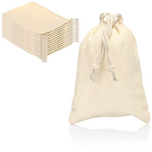 com-four® 12x Stoffsäckchen aus Baumwolle mit Zugband - wiederverwendbarer Stoffbeutel mit Kordelzug - unbedruckt, ideal zum Bemalen - Oeko-TEX® Standard 100 (12 Stück - 19.5x14.5cm)