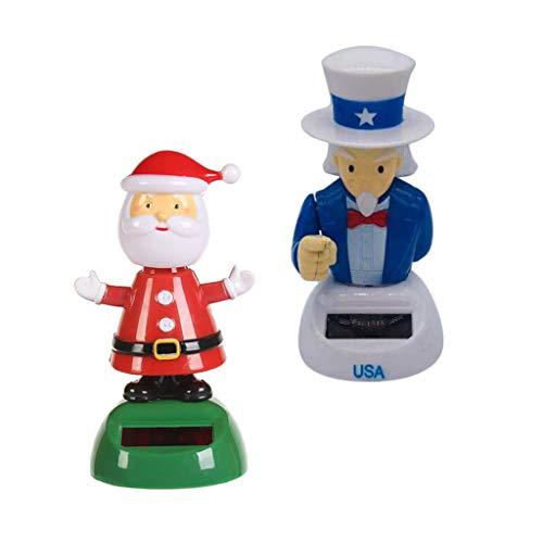 PETSOLA 2pcs Muñeca de Navidad Juguete Creativo Papa Noel Tío Sam Juguete Bailando