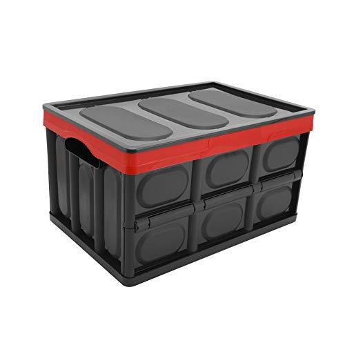 Somine pliable panier de rangement de voiture avec couvercle - 52 litres polyvalent de stockage Bin solide mur utilitaire panier pour SUV, véhicule, voyage et camp - Couleur: noir