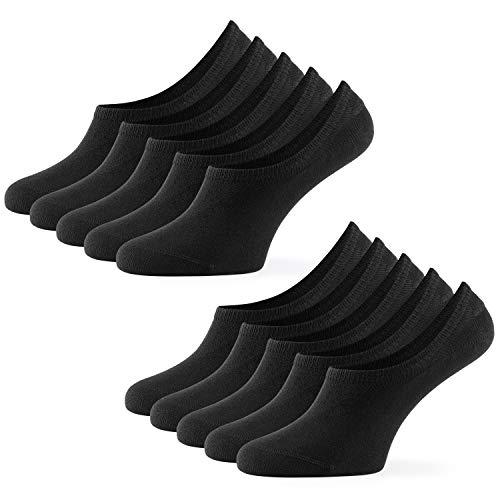 Mat & Vic's Unsichtbare Sneaker Socken Herren & Damen 10 Paar Großes Premium Silikonpad gegen Verrutschen (schwarz, 35-38)