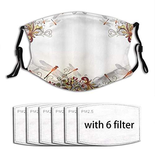 Blumen-Libellen-Flügel für Frauen, Mädchen und Jugendliche, Unisex, waschbar, mit Filter, Staubschutz, wiederverwendbar, waschbar, inkl. 6 Filter