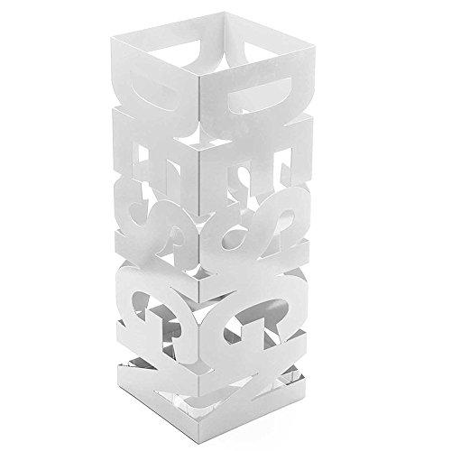 Bakaji Schirmständer Regenschirmständer Metall Weiß Mit Wasserauffangschale Haken Für Regenschirm Gehstock Geschenkpapierständer Quadratische Form Für Haus Büro Rezeptionsmöbel Salon Kochen