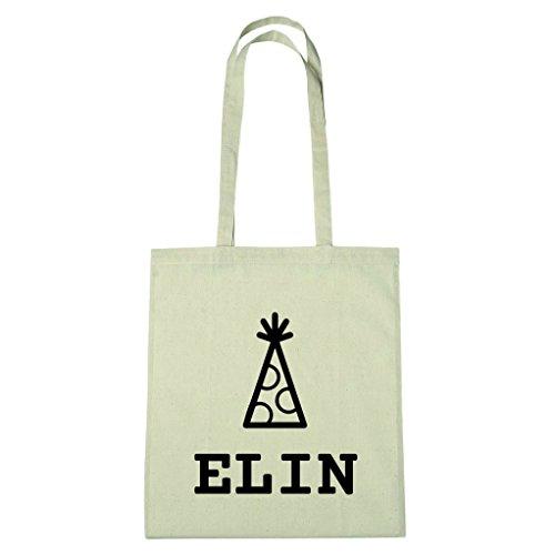 JOllify Baumwolltasche - Happy Birthday für ELIN - Hut