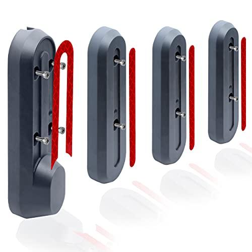 M365Lyon - 4 tapas de plástico para rueda con pegatinas rojas y 10 tornillos para patinete Xiaomi M365