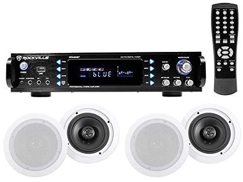 4) Commercial Ceiling Speaker System+Bluetooth Amp/Receiver 4 Restaurant/Office
