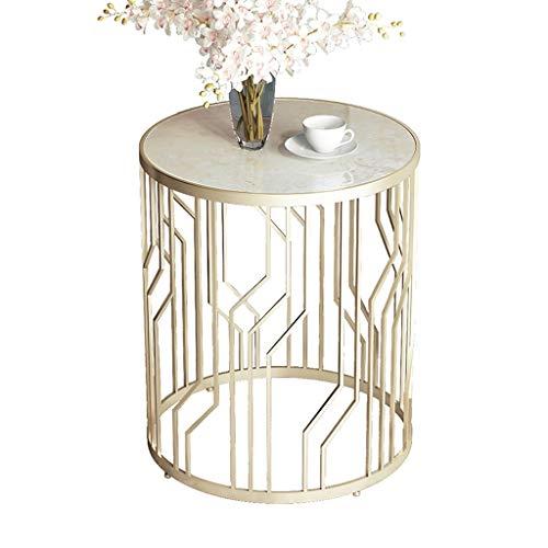 LICHUAN Petite table d'appoint, comptoirs en marbre, cadre en métal doré massif, table d'appoint d'appoint pour chambre à coucher, salon et terrasse