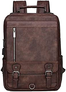 Fmdagoummzibeib Backpack, PU Leather Men Backpack ,suited for Travel Outside Waterproof Backpack ,Can Hold 15.6-inch Lapto...