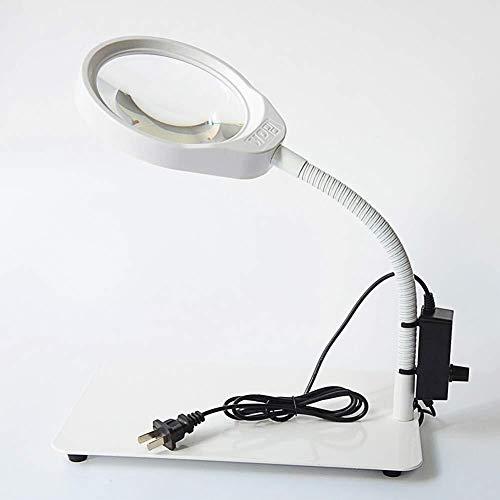J+N Minihand Lupe 10X 36LED Vergrößerungsglas-Lampe dimmbar Objektiv, Einstellbare Farbtemperatur Schwenkarm Dienstprogramm Licht, Schreibtisch, Tisch, Aufgabe, Craft Mikroskop