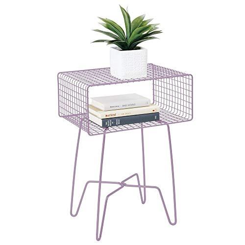 mDesign Mesita auxiliar de metal pequeña – Elegante mesa auxiliar vintage para el salón o el dormitorio – Mesa de centro con moderno diseño de horquilla – lila claro