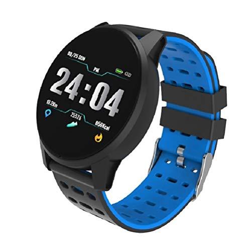 HDDFG Reloj inteligente deportivo para hombre y mujer, presión arterial, resistente al agua, actividad física, ritmo cardíaco, reloj inteligente para teléfono (color azul)
