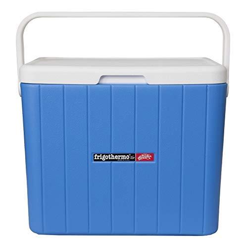 frigothermo Kühlbox 33 Liter groß eckig blau weiß passiv Kunststoff Tragegriff Ablassventil abnehmbarem Deckel bis 12 Stunden Kühlung Thermo-Behälter Cooler Getränkekühler Autokühlbox Kühltruhe