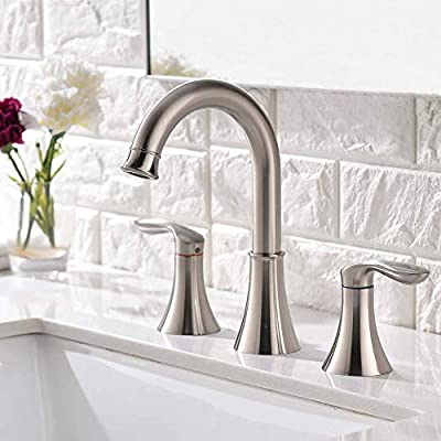 Friho Widespread 2 Handle 3 Hole Brushed Nickel Bathroom Faucet, Lavatory Vanity Bathroom Sink Faucet with Lead-Free Water Hoses