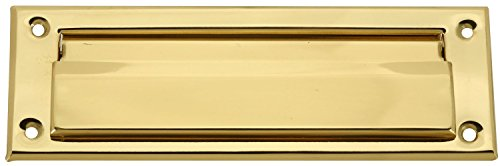 Brass Plated Mail Letter Slot Fits All Wood & Metal Doors 3' X 10' Inside Opening: 1-5/8' X 7-3/4' Steel Spring Loaded Flap, Meets Postal Regulations