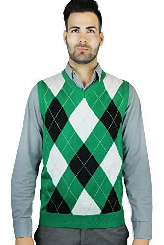 Blue Ocean Men's Argyle Sweater Vest-Medium Green