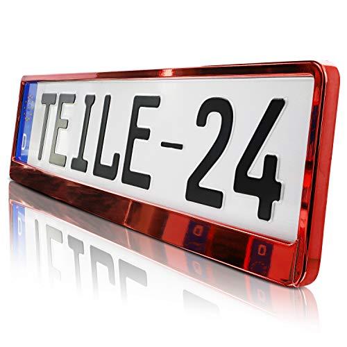 Preisvergleich Produktbild 2 x Kennzeichenhalter / ROT / Metallic / Hochglanz / KLAVIERLACK / 520 x 110 / DHL Schnellversand