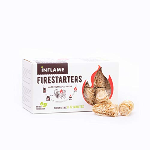 Inflame Fire Starters 50 pcs/Organic/Easy Fire for Wood and Charcoal - Super Fast Lighting, Any Weather/Grill, BBQ, Wood Stove, Campfires, Fireplace, Pellets