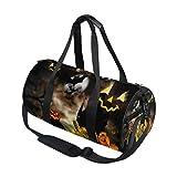 Emoya Bolsa de Gimnasio Jack-O-Lantern Halloween Calabaza Bat Bolsa de Deporte Bolso de Mano de Entrenamiento Bolsa de Hombro de Viaje