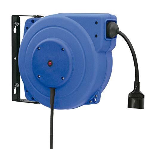 Tambor Enrollacables ELÉCTRICO Pared 15 METROS Alargadera Taller (Sección 3x1,5mm2) con Cable...