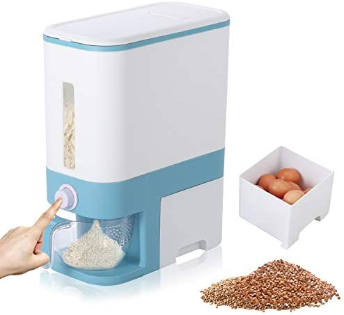 Genenic Rice Storage Container 26 5lbs 10L Automatic Rice Dispenser Grain Bin with Lid Measuring product image