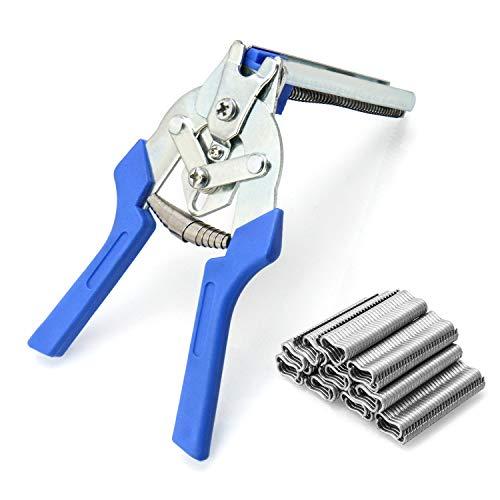 QWORK Alicates de anillo de cerdo , Tenaza cercas con 600 clips M , herramientas de reparación de instalación para jaulas de animales y mascotas, vallas