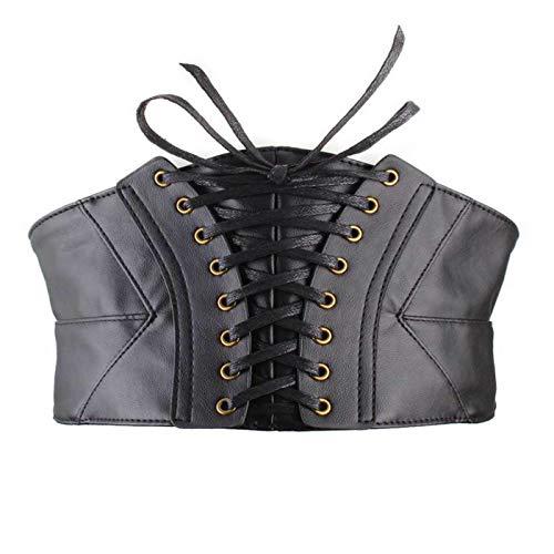 JZK Cinturn de cors de cuero sinttico negro para mujer ropa de diario y disfraces, cinturn cintura ancho elstico para disfraz de steampunk