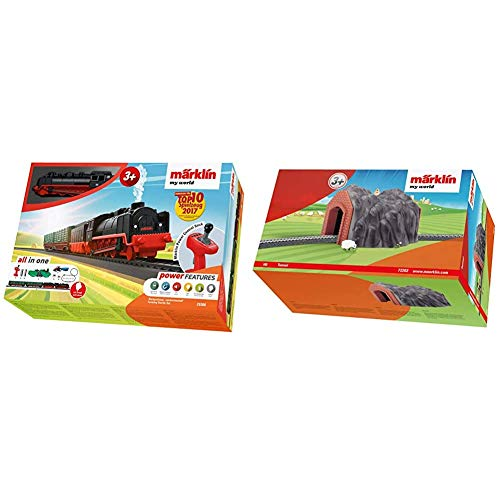 Märklin 29308 My World ‐ Startpackung Landwirtschaft Modelleisenbahn für Kinder ab 3 Jahre, mit Licht-und Dampfeffekten & My World 72202 - Eisenbahn-Tunnel Train Tunnel, Spur H0