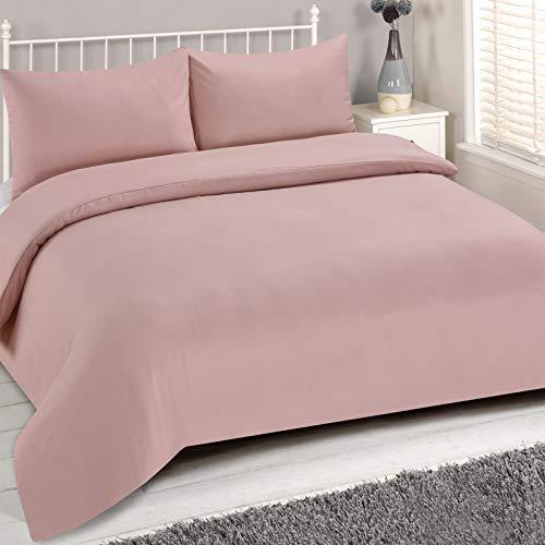 Brentfords Juego de Funda de edredón Liso, Doble, 100% Microfibra de poliéster, Color Rosa