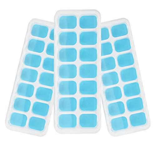 Los Moldes del cubo de hielo Verano Creativo De Silicona Con Tapa Bandeja de Hielo Paquete de 3 Grado Alimenticio Grado de Hielo Molde Caja de Suplemento de Alimentos for Bebés Bandeja de Hielo Lo mej