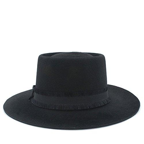 Accesorios Sombrero de ala Ancha Diario Fedora Hat Black Pork Pie Fieltro de Lana Hecho a Mano para Hombres Mujeres (Color : 1, Size : 57-59cm)