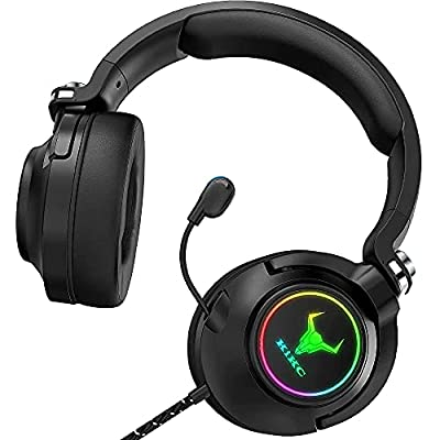 Kikc ET600 Xbox One Headset, PS4 Headset for PS5, PSP, PC, Video Game, Laptop, Mac. (Rotating Ear Shell, Storage Swivel Microphone) by Kikc