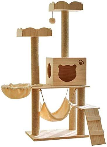 ZouYongKang El árbol de gato tiene rayado de juguete con un centro de actividades de la bola Cat Tower Mobiling Muebles cubiertos de yute Publicaciones de rasguños, Doble Apartamento de madera maciza,