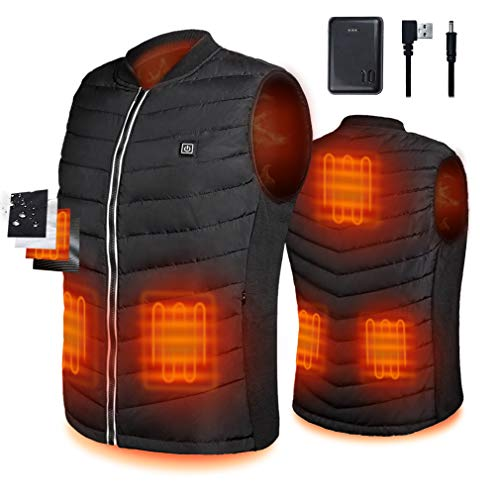 Srivb Heated Vest, USB Charging Lightweight Heating Vest for Men Women Washable Body Warmer with Battery Pack Included for Outdoor Hunting Hiking Camping Motorcycle Skiing (Large)
