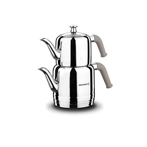 Korkmaz   Riva   Teekannen-Set   Teekessel   Teekocher   Wasserkocher   Samowar   Aus Edelstahl   3 Liter   Induktionsgeeignet   Türkischer Tee