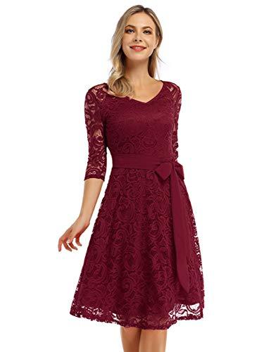 KOJOOIN Damen Vintage Kleid Brautjungfernkleid Knielang Langarm Spitzenkleid Cocktailkleid Bordeaux Weinrot L