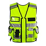 Einsatz Warnweste mit Reißverschluss reflektierend für Polizei, Security, Sicherheitsweste mit Taschen, Patch zum Aufdruck Einsatzweste gelb Größe M-XL