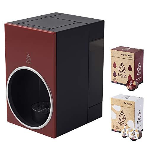 【カプセル2箱付き】 &Drip(アンドドリップ) カプセル式コーヒーメーカー(ダークレッド)