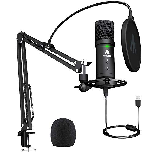USB micrófono de Condensador Kit 192 KHZ/24 bits Plug & Play Conectividad Computadora cardioide Mic Podcast con Sonido Profesional Chipset para PC Karaoke YouTuber Grabación de Juegos