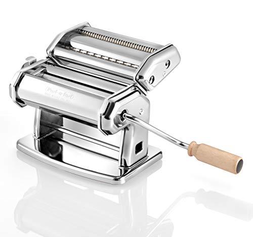 PAST-A-FAST Macchina per la Pasta Manuale - Pasta fatta in Casa - lasagne (larghezza 150 mm), tagliolini (2 mm) e fettuccine (6,5 mm) - Acciaio Cromato, Argento