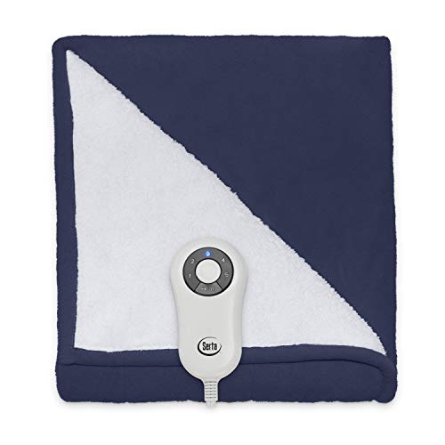 Serta Heated Electric Microfleece and Sherpa Throw - with 5 Setting Controller, 50 x 60, Cobalt Model 0917